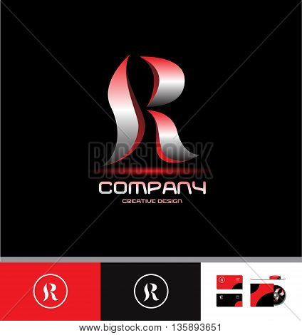 Vector company logo icon element template alphabet letter R silver metal red 3d