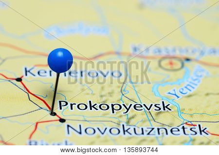 Prokopyevsk pinned on a map of Russia