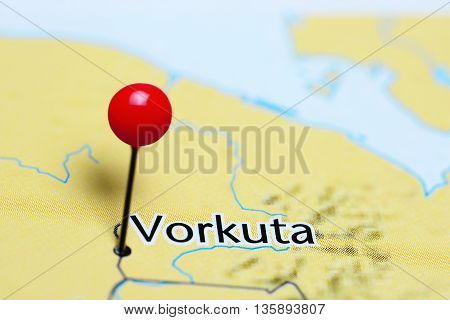 Vorkuta pinned on a map of Russia