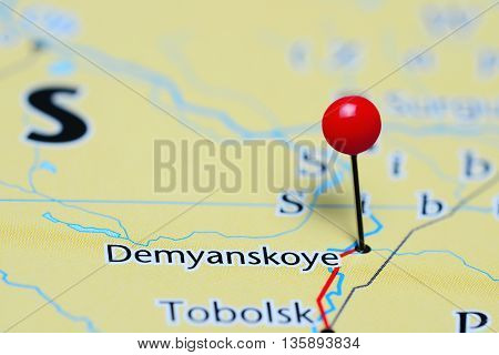 Demyanskoye pinned on a map of Russia