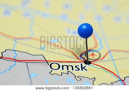 Omsk pinned on a map of Russia