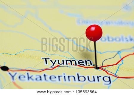 Tyumen pinned on a map of Russia