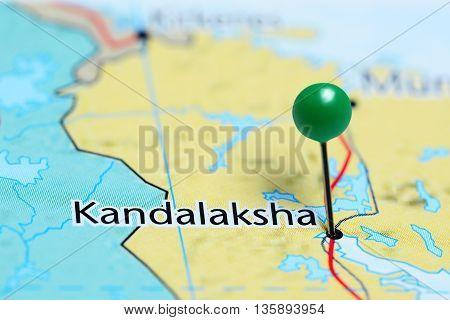 Kandalaksha pinned on a map of Russia