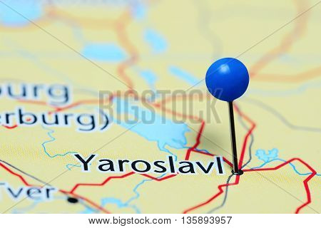 Yaroslavl pinned on a map of Russia