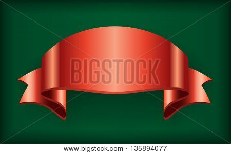 Red ribbon. Satin bow blank banner. Design label scroll blank element, isolated on green background.  Empty template for greeting, placard or advertising. Symbol for decoration. Vector illustration.