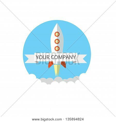Rocket Icon in flat style. Business Start up launch concept. Flat trendy rocket start up icon for website graphics, mobile apps, web page layout design.