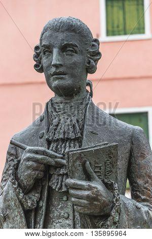 Statue Of Galuppi In The Main Square Of Burano, Piazza Galuppi, Italy