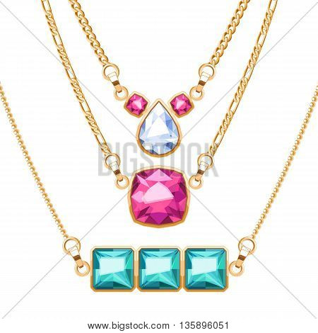 Golden chain necklaces set with ruby diamond and emerald gemstones pendants. Jewelry vector illustration design.