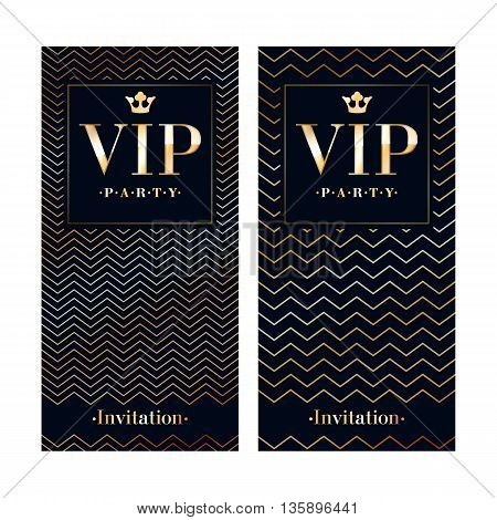 VIP club party premium invitation card poster flyer. Black and golden design template. Waves pattern decorative vector background.