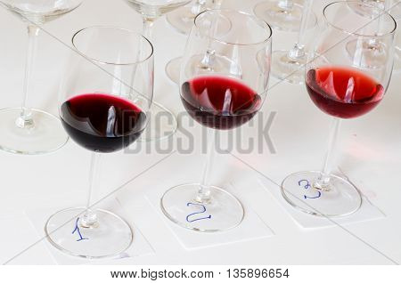 Number for wine tasting glasses on the table