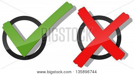 collection of red and green check marks and crosses to symbolize success