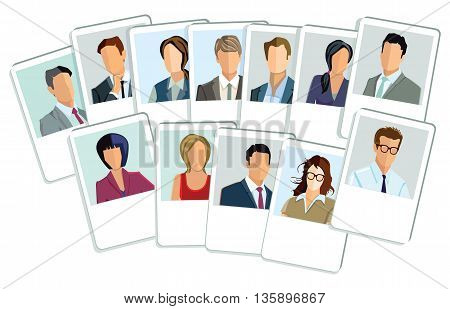 Businessmen and businesswomen application, portrait, faces, people