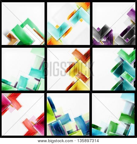 Set of 3d arrow backgrounds. Collection of vector web brochures, internet flyers, wallpaper or cover poster designs. Geometric style, colorful realistic glossy arrow shapes, blank templates with