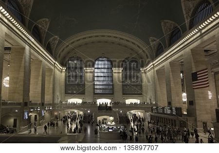 NEW YORK CITY - June 20 2016- The main concourse at Grand Central Terminal Manhattan New York desaturated for an old-time look.