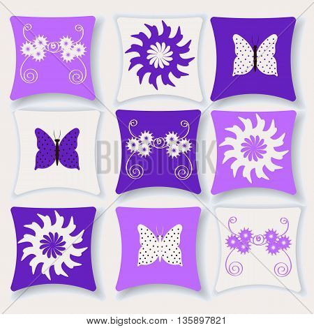 Set of bright colorful vector illustration pillows, pillow flat style