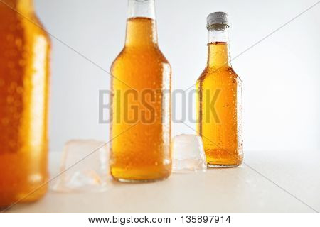 Closeup unlabeled rustic bottles sealed with tasty cold drink inside presented next big ice cubes, isolated on white, retail mockup presentation