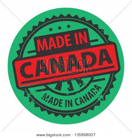 Abstract grunge rubber stamp with the text Made in Canada written inside the stamp, vector illustration