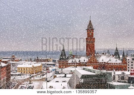 An elevated view of the swedish city of Helsingborg during some wintry weather conditions.