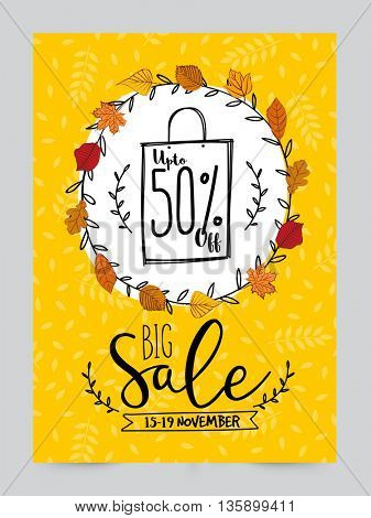 Big Sale Poster, Sale Banner, Sale Flyer, Upto 50% Off, Sale Background with beautiful leaves, Creative vector illustration.