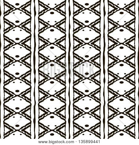 Seamless black and white pattern with ethnic motifs. Vertical stripes, triangular, rhomboid, circular shapes. Abstract geometric ornament in hand drawing style. Vector illustration for modern design