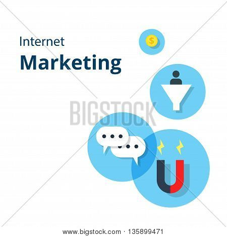Internet Marketing concept web vector illustration. Card with flat internet marketing icons. For website graphics, mobile apps, web page layout design.