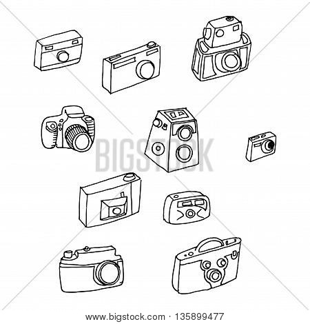 Photo cameras set. Hand drawn vector stock illustration. Black and white whiteboard drawing.