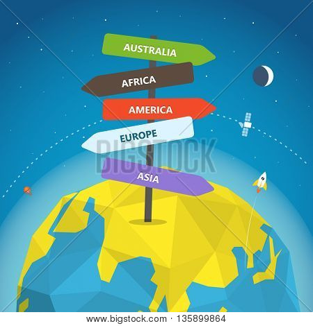 Abstract global modern way direction