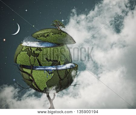 Global warming concept. Sliced Earth on the world tree against cloudy night skies for your design, not 3D rendered