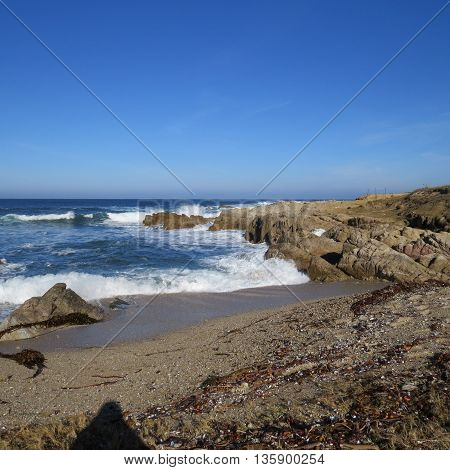 This is an early morning image of the shore at Asilomar State Preserve in Pacific Grove, California, U.S.A.
