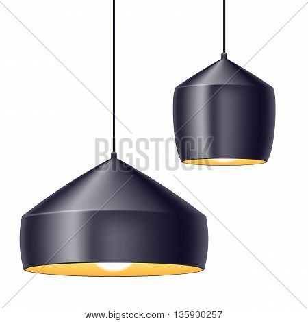 Pendant light lamps set vector illustration. Home interior decoration.