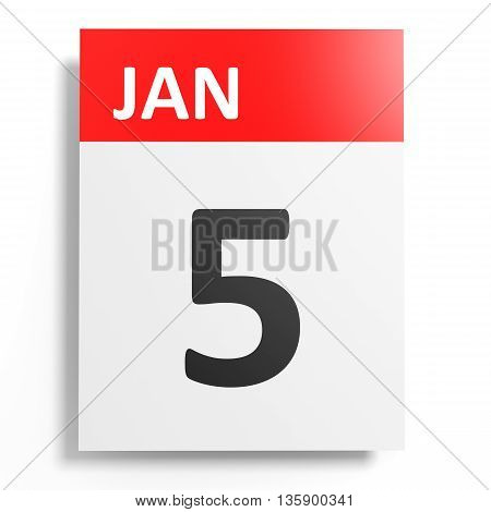 Calendar On White Background. 5 January.