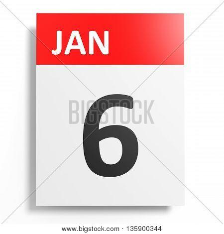 Calendar On White Background. 6 January.