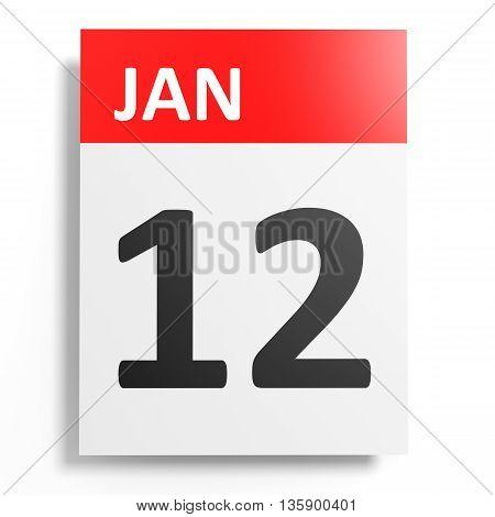 Calendar On White Background. 12 January.