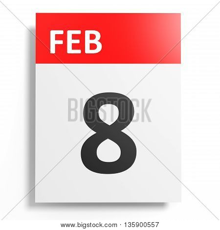 Calendar On White Background. 8 February.