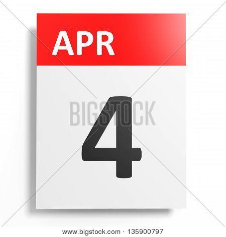 Calendar On White Background. 4 April.