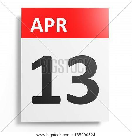 Calendar On White Background. 13 April.