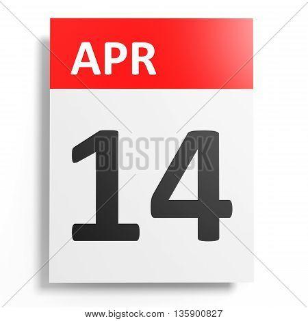 Calendar On White Background. 14 April.