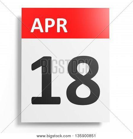 Calendar On White Background. 18 April.