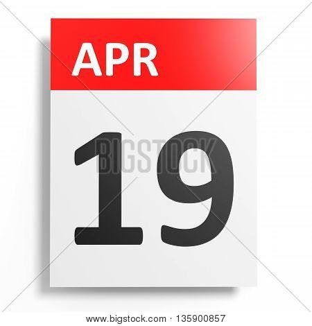 Calendar On White Background. 19 April.