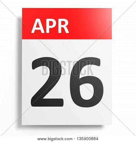 Calendar On White Background. 26 April.