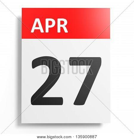 Calendar On White Background. 27 April.