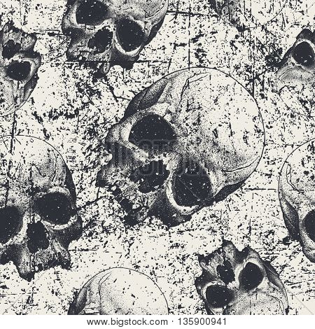 Seamless pattern with skulls in grunge style, vector
