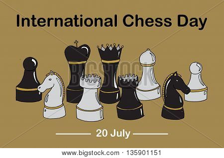 Set of chess. International Chess day. Hand drawn vector stock illustration.