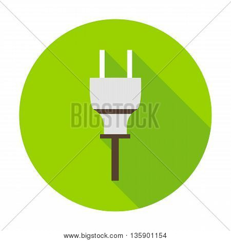 Electric plug flat circle icon. Vector illustration of electrical symbol on green.