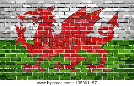 Flag of Wales on a brick wall - Illustration, Grunge flag of Wales - Y Ddraig Goch (The Red Dragon), The Welsh Dragon in brick style,  Abstract grunge Welsh flag vector