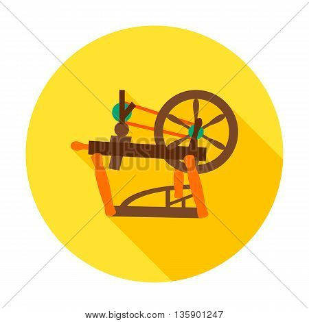 Spinning wheel flat circle icon. Vector illustration of distaff for hand spinning wool.