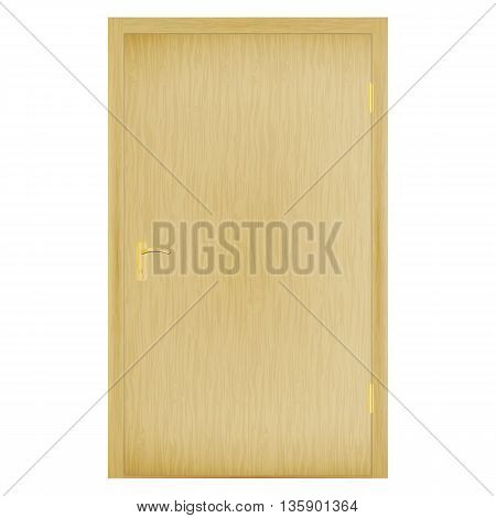 Vector illustration of a closed wooden door with the golden handle. On an isolated white background.