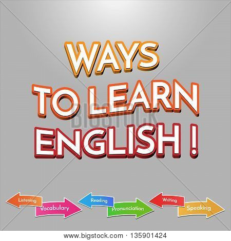 Ways to learn English sign vector. Vector illustration for children. School subjects arrows.