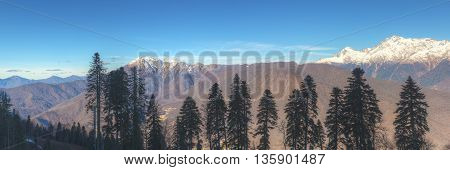 panorama of the peaks of the mountain range Caucasus