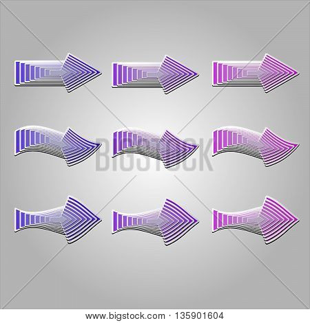 Colorful arrows in different shapes. Vector arrows created with blend feature.
